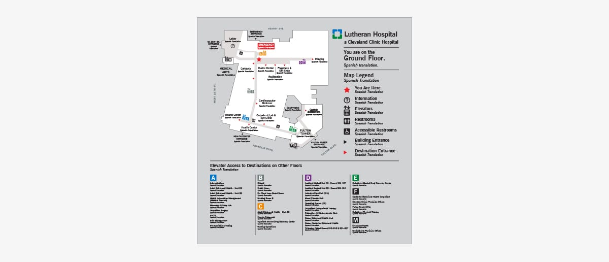 Hospital Wayfinding Design Case Study, Lutheran Hospital on cleveland euclid opportunity corridor, ohio map, orlando va medical center map, cleveland city limits map, jupiter medical center map, delray medical center map, banner gateway medical center map, university of north carolina at chapel hill map, peacehealth southwest medical center map, bay medical center map, cleveland state community college map, washington university school of medicine map, beth israel deaconess medical center map, metrohealth map, university of washington medical center map, harrison medical center map, cleveland street map, cleveland botanical gardens map, odessa regional medical center map, downtown cleveland map,